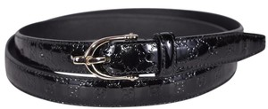 Gucci New Gucci Women's Black Patent Leather GG Logo Horsebit Buckle Belt 40