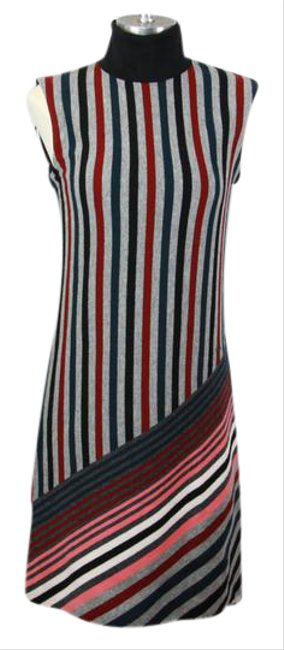 Item - Gray / Red New Women Lv Striped Wool Cashmere Knit Turtle-neck Sleeveless Short Casual Dress Size 8 (M)