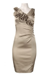 Donna Ricco Hazelnut Ruffle Trim Charmeuse Sheath Dress Dress