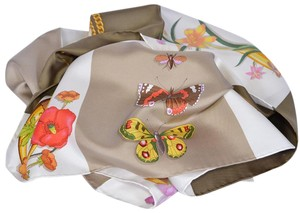 Gucci New Gucci Butterflies Handbags Horsebit Pattern Brown Silk Twill Scarf