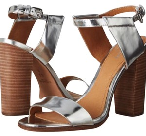 Coach Strappy Metallic Chunky Silver Sandals