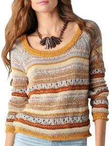 Torn by Ronny Kobo Striped Knit Cut-out Sweater