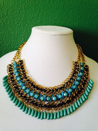 My Closet- Embellished by Leecia Shades Of Blue & Turquoise With Chain Statement Necklace