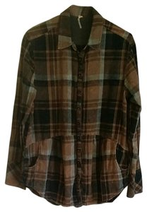 Free People Button Down Shirt Brown