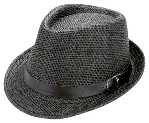 fedora Straw fedora hat with faux leather buckle belt