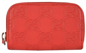 Gucci NEW Gucci 324801 Coral Red Leather GG Guccissima Mini Zip Coin Purse
