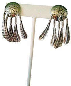 Y&S Handbags Sterling Silver Feather & Medallion Earrings