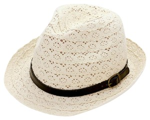 fedora Crochet lace fedora hat with faux leather buckle belt