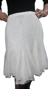 Ralph Lauren Lace Lined Knee Length Skirt Ivory