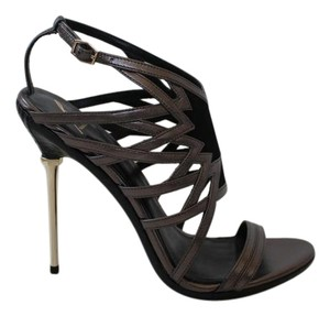 B Brian Atwood Leather Suede Metallic Hardware Pewter/Black Pumps