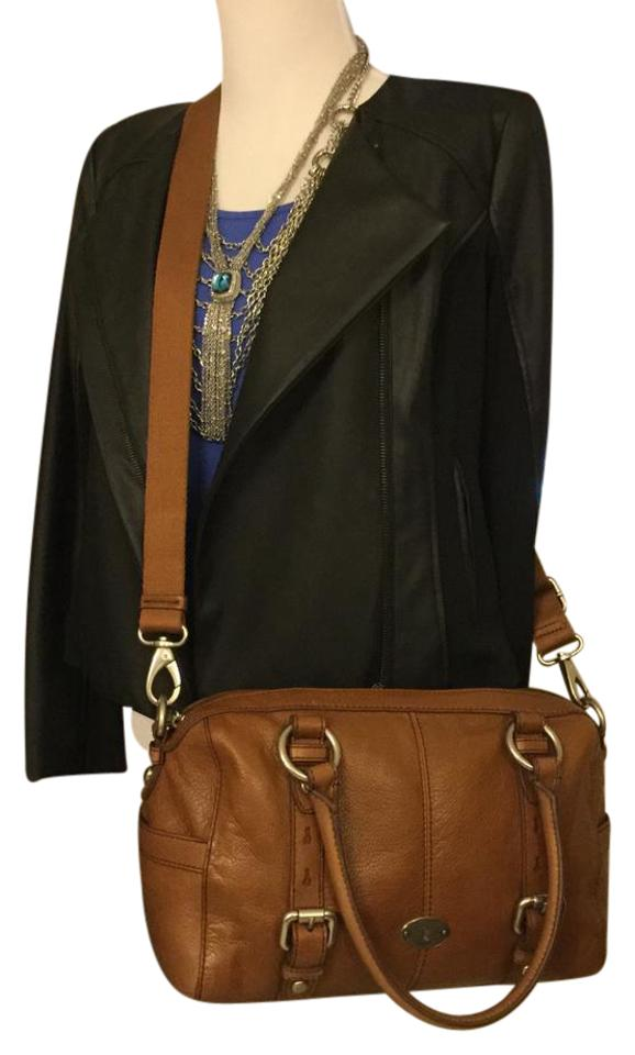 c38821b59198 Fossil Maddox Convertible Sachel Chestnut Brown Leather Cross Body ...