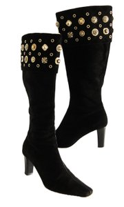 St. John Suede Leather Heel Buttons black Boots