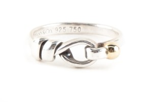 Tiffany & Co. Tiffany & Co. silver and gold hook and eye band ring