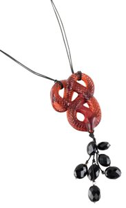 Lalique Lalique red sculpted crystal knotted snake pendant necklace