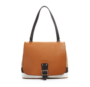 Burberry Shellwood Check Satchel in Tan