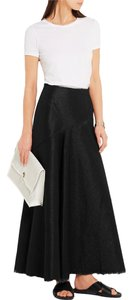 Marques Almeida Denim Frayed Maxi Skirt shiny black