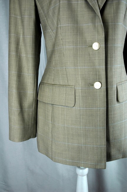 Escada Luxury Wool Gray 2-Buttom Jacket and Pants Designer Suit Image 1