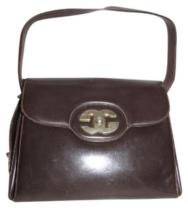Gucci Early Style Mint Vintage Lots Of Compartments Perfect For Everyday Bold Gold Hardware Satchel in rich brown leather