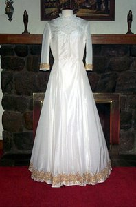 Edward Cromarty Art Design Studio Magnolia Silk Taffeta With Lace Beads And Gold Trim Wedding Dress