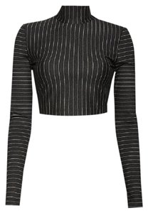 Torn by Ronny Kobo Cropped Striped Sexy Ponte Knit Sweater