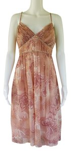 Muse Pink Paisley Beaded Silk Cocktail Dress