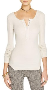 Free People Megs Up All Night Henley Sz M Wheat Sweater