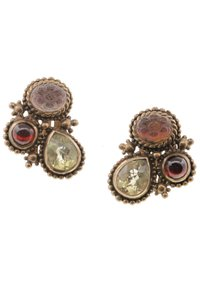 Stephen Dweck Stephen Dweck Bronze Garnet & Quartz Clip-On Earrings