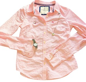 Abercrombie & Fitch Button Down Shirt pink and white