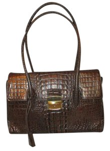 Preston & York Croc Leather Lockable Satchel in brown/bronze