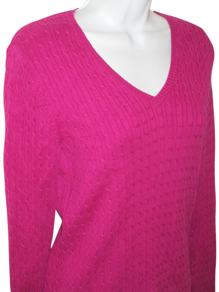 Lands' End Cable Knit Supima Cotton Magenta Sweater