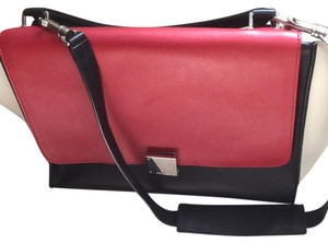 Céline Lambskin Leather Satchel in Black/Red/White