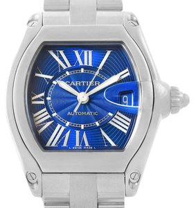 Cartier Cartier Roadster Mens Steel Large Blue Dial Watch W62048V3 Box Papers