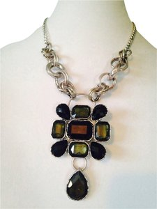 Embellished by Leecia Faceted Black Crystal & Silver-Tone Statement Necklace