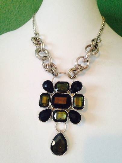 Other Embellished by Leecia Faceted Black Crystal & Silver-Tone Statement Necklace