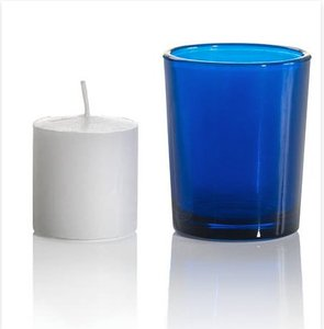 Blue Votives With Tealights