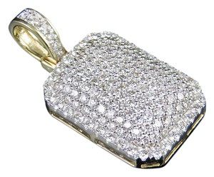 Jewelry Unlimited Mens Ladies 10K Genuine Diamond Iced Dome Pillow Pendant 2""