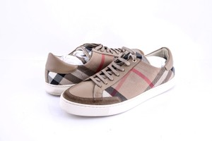 Burberry * Burberry Brown Checked Canvas Sneakers