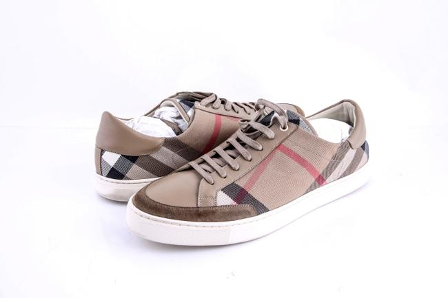 Item - Beige Brown Checked Canvas Sneakers Shoes