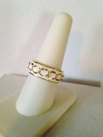 My Closet- Embellished by Leecia White Enamel & Gold Chain Ring, Size 7