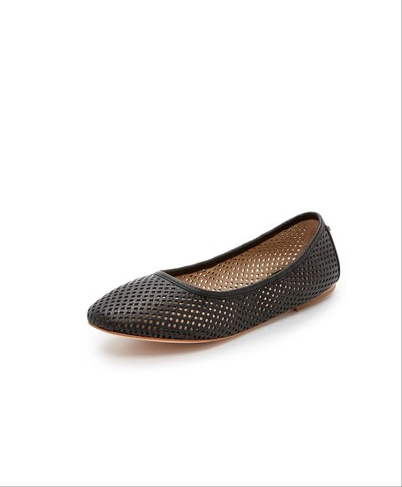 91eb3f94e46 Tory Burch Black Whittaker Perforated Leather Ballerina Flats Size ...