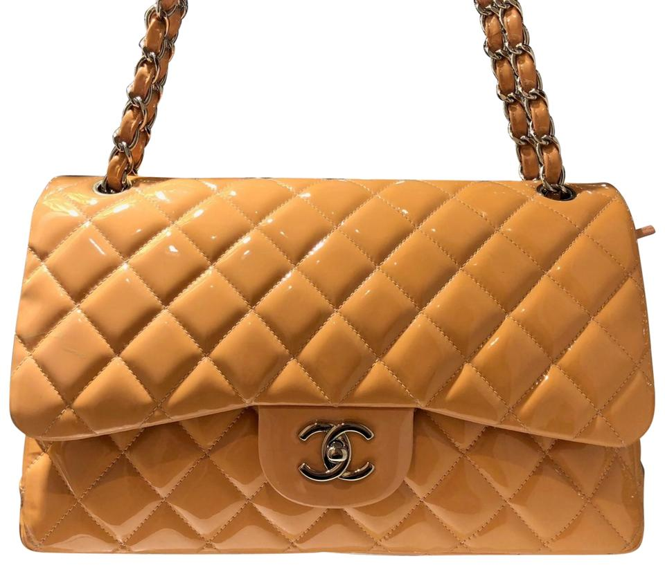 972d87f1f42c Chanel Double Flap Peach Classic Quilted Jumbo Orange Patent Leather ...