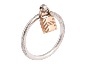 Hermès Sterling Silver   18K Rose Gold Mini Lock Ring 0c14ee32a6c