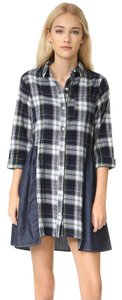 Club Monaco short dress Plaid/Navy Plaid Work Chambray Daytime on Tradesy