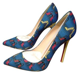 Christian Louboutin Never Worn New In Box Under $450 Printed Blue/Multicolor print Pumps