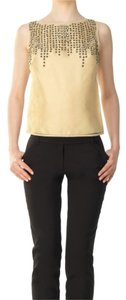 Max Studio 100% Silk Limited Edition Dryclean Only Embellished Top Beige and Black