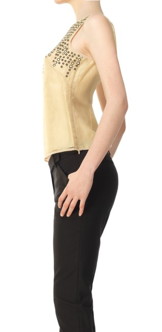 Max Studio Silk Limited Edition Dryclean Only Beaded Embellished Top Beige and Black