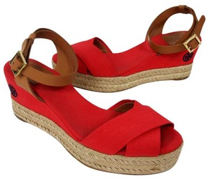 Tory Burch Miller Eddie Caroline Patent Leather Flats Red Wedges