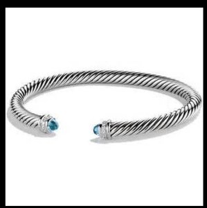 David Yurman Authentic Authentic David Yurman 5mm Cable Classics Bracelet with Blue Topaz and Diamonds