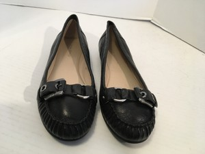 Via Spiga Loafers Black leather tan leather lining leather padded insoles strap and metal buckle Flats
