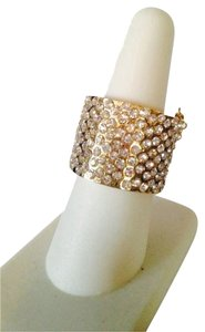 Guess By Marciano Gold Crystal With Chain Cigar Band Ring, Size 7